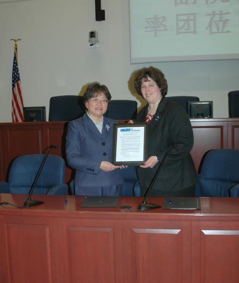 Patricia Salkin (r), dean of the Touro Law Center, with Xu Xiaowei, vice president of  the Shanghai Institute of Foreign Trade, after announcing a newly-formed collaboration between the two schools.