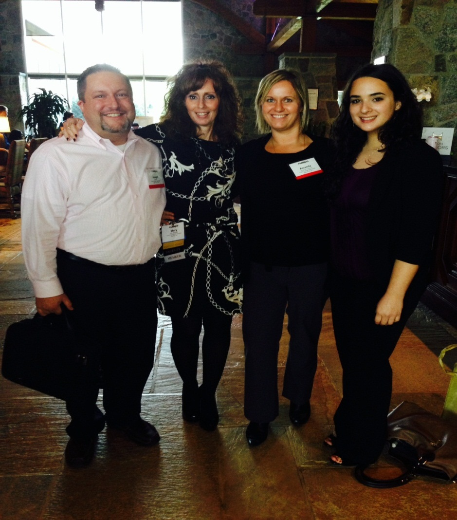 In celebrating National PA week, students from the Touro Manhattan PA Program visited the N.Y. State Society of Physician Assistants' Continuing Medical Education Conference in Saratoga Springs, N.Y. Shown at the conference are (L-R): student Joseph Falank; School of Health Sciences' Assistant Professor Mary Banahan, MS, PA-C, LCCE; and students Amanda Anderson and Guadalupe Mendoza.