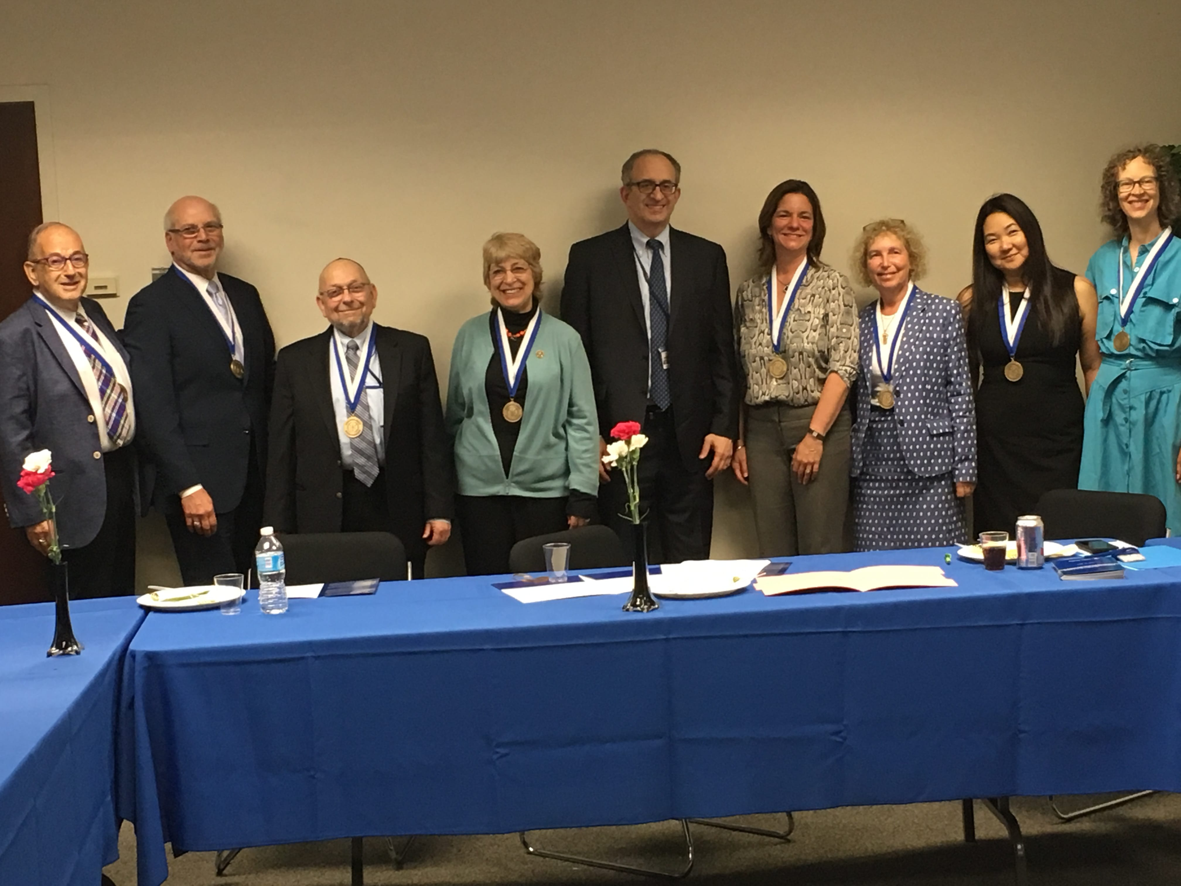 The recipients of the inaugural presidential awards for faculty excellence, with Dr. Kadish, President of Touro College.