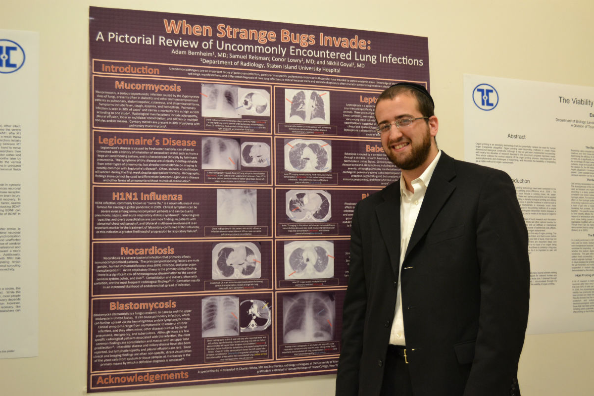 ABOVE: Samuel Reisman of the Lander College of Arts and Sciences–Flatbush with a Research Day poster he worked on with doctors from Staten Island University Hospital. BELOW: First place winners of Touro College of Osteopathic Medicine's individual Research Day poster competition, who won for their research on three-dimensional tissue printing. (L-r) David Rytzarev, Jason Fidel and Daniel Kohn.